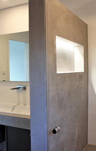 Concrete imitation bathroom wall