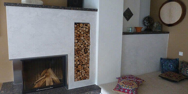 Fireplace refinement with Stucco Veneziano