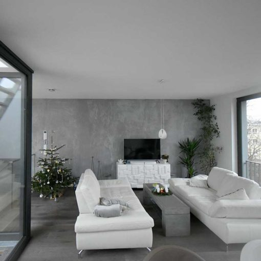 Concrete-optic plaster for noble walls in living areas