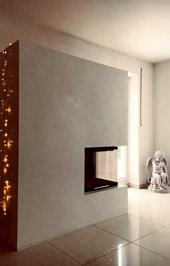 modern stove with marble plaster in grey