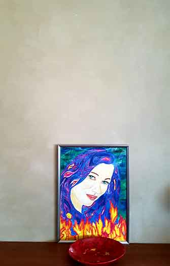 marmorino wall and acrylic painting
