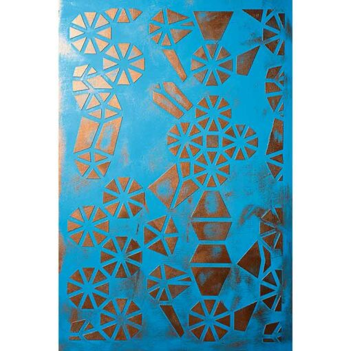 stencil blue with golden gears