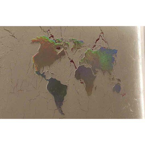 World map as a stencil