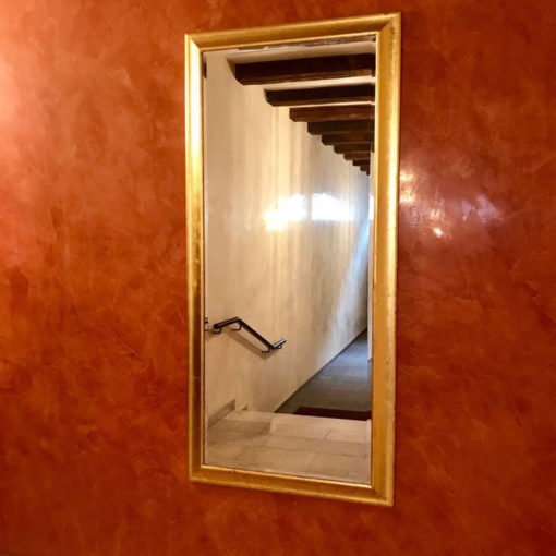 red stucco high gloss marble plaster in the hallway