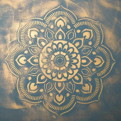 stencil 98518 Mandala golden glazed
